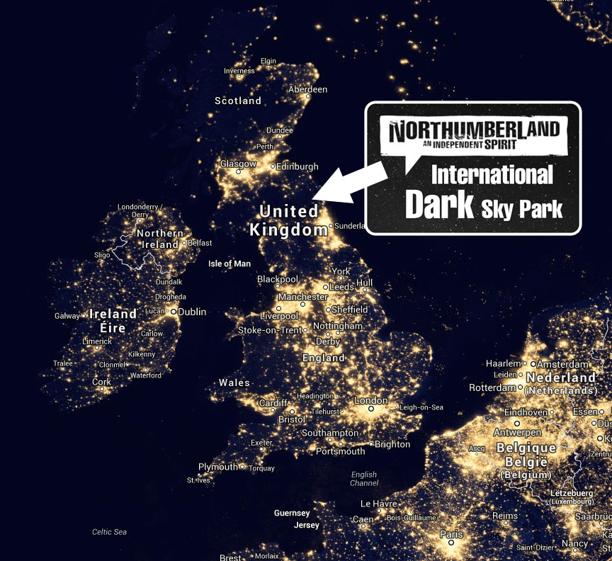DarkSky night map with logo